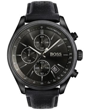 Boss Hugo Boss Men's Chronograph Grand Prix Black Leather Strap Watch 44mm 1513474