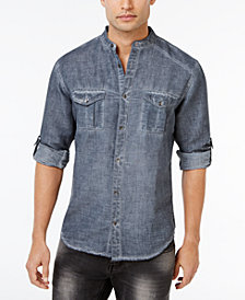 I.N.C. Men's Garment Dye Linen Shirt, Created for Macy's