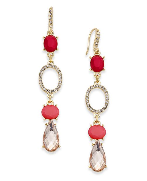 INC International Concepts I.N.C. Gold-Tone Pink Stone and Pavé Drop Earrings, Created for Macy's