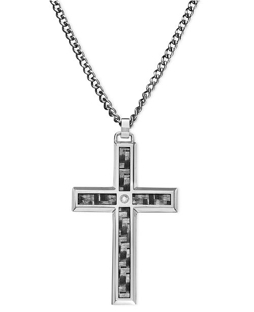 Macys mens stainless steel and carbide pendant cross necklaces main image aloadofball Images
