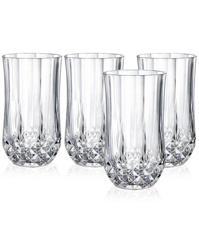cristal d arques longchamp set of 4 highball glasses all glassware drinkware dining. Black Bedroom Furniture Sets. Home Design Ideas