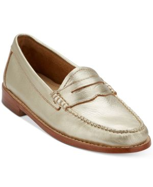 Women'S Weejuns Whitney Penny Loafers Women'S Shoes, Gold Leather