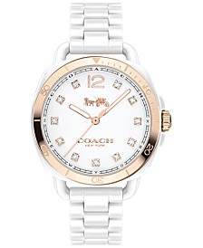 COACH Women's Tatum White Ceramic Bracelet Watch 34mm 14502752, Created for Macy's