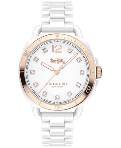 COACH Women's Tatum White Ceramic Bracelet Watch 34mm 14502752, Created for Macy's