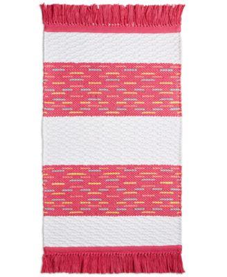 "CLOSEOUT! Flamingo Kiss Cotton Stripe 20"" x 32"" Bath Rug, Created for Macy's"
