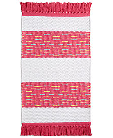 "CLOSEOUT! Whim by Martha Stewart Collection Flamingo Kiss Cotton Stripe 20"" x 32"" Bath Rug, Created for Macy's"