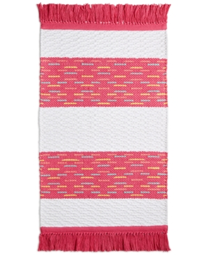 "Whim by Martha Stewart Collection Flamingo Kiss Cotton Stripe 20"" x 32"" Bath Rug, Created for Macy"