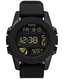 Nixon Men's Chronograph Unite Black Silicone Strap Watch 44mm A197