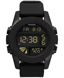 Nixon Men's Chronograph Unite Black Silicone Strap Watch 44mm