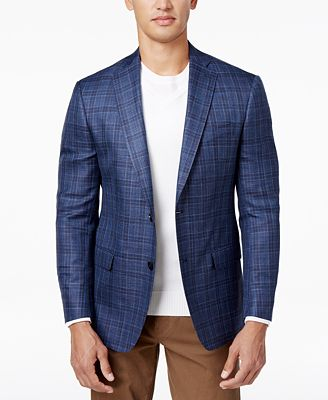 MICHAEL Michael Kors Men's Classic-Fit Blue Plaid Sport Coat ...