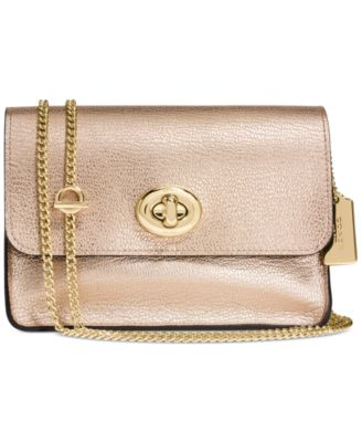 coach satchel bag outlet k4o6  COACH Small Turnlock Chain Crossbody in Refined Calf Leather