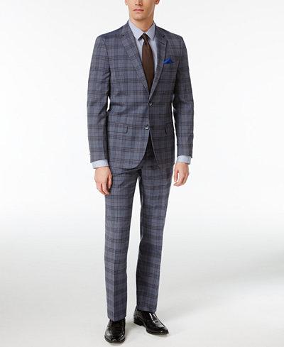 Ben Sherman Men's Slim-Fit Blue/Black Plaid Suit - Suits & Suit ...
