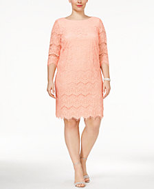 Jessica Howard Plus Size Lace Illusion Sheath Dress