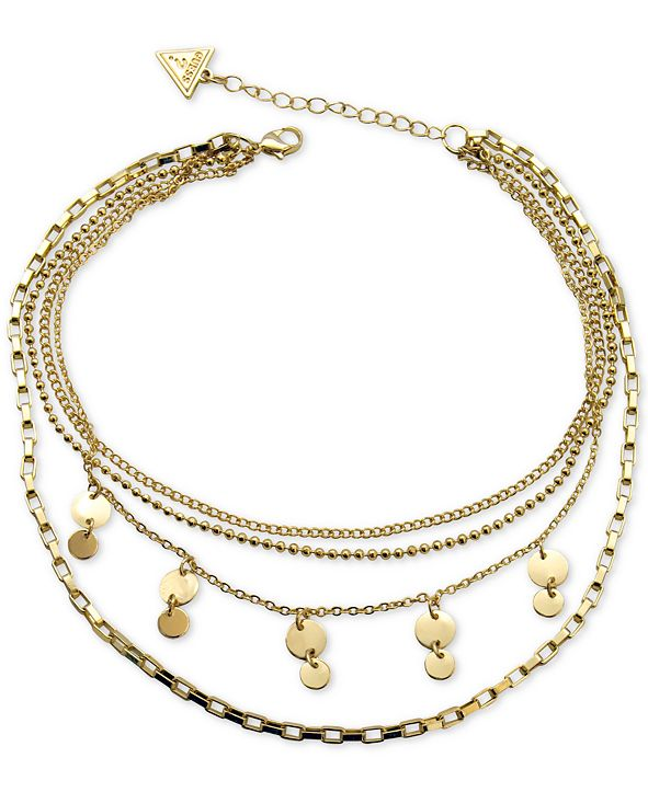 GUESS Gold-tone Multi-Row Choker Necklace