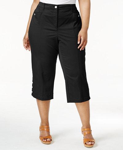 Karen Scott Plus Size Button-Hem Capri Pants, Only at Macy's ...