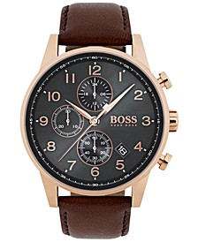 Hugo Boss Men's Chronograph Navigator Brown Leather Strap Watch 44mm 1513496