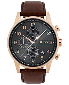 BOSS Hugo Boss Men's Chronograph Navigator Brown Leather Strap Watch 44mm 1513496