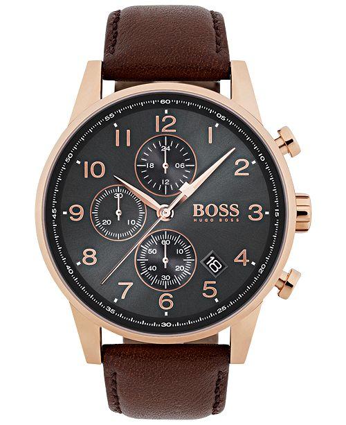 Boss Hugo Boss Men S Chronograph Navigator Brown Leather Strap Watch