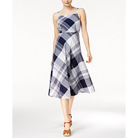 Maison Jules Plaid Midi Womens Dress (Blu Notte Combo)