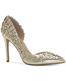 I.N.C. Women's Karlay Floral Embellished Evening Pumps, Created for Macy's