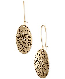 Gold-Tone Etched Inspiration Drop Earrings