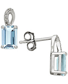 Aquamarine (1-1/10 ct. t.w.) and Diamond Accent Drop Earrings in 14k White Gold