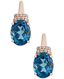 Ocean BLEU by EFFY® London Blue Topaz (4-1/4 ct. t.w.) and Diamond Accent Drop Earrings in 14k Rose Gold