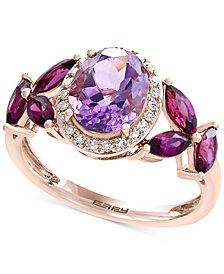 Viola by EFFY® Multi-Gemstone (3-1/2 ct. t.w.) and Diamond (1/10 ct. t.w.) Ring in 14k Rose Gold