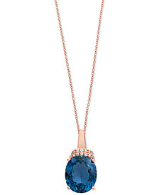 Ocean Bleu by EFFY® London Blue Topaz (5-1/3 ct. t.w.) and Diamond Accent Pendant Necklace in 14k Rose Gold