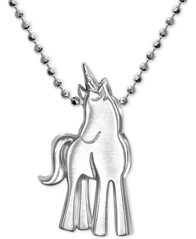 Alex Woo Princess Unicorn Pendant Necklace in Sterling Silver