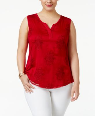Style & Co Plus Size Embroidered Shell, Only at Macy's