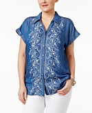 Style & Co Plus Size Denim Embroidered Shirt Created for Macys