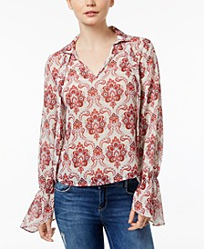 Abstract Medallion Tie Neck Blouse