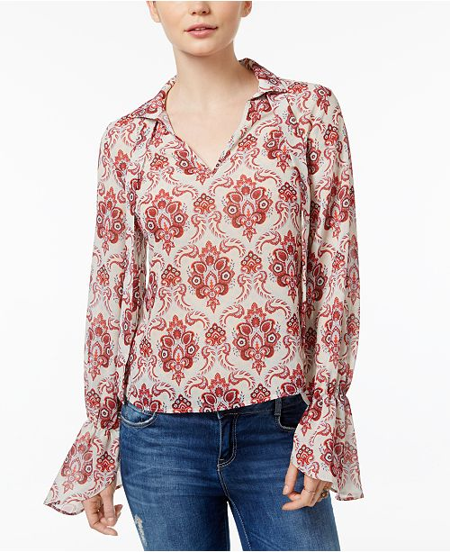 CELESTIAL Blue Abstract Medallion Tie Neck Blouse