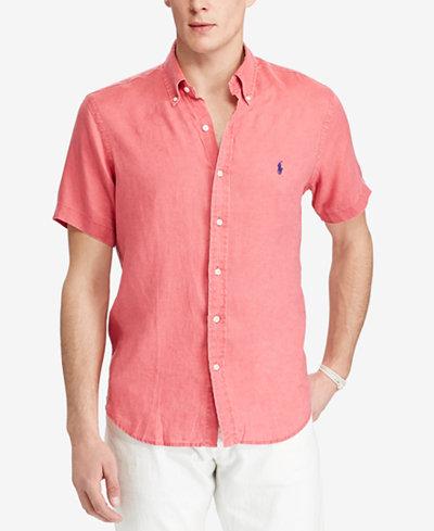 Polo ralph lauren men 39 s short sleeve linen shirt casual for Polo ralph lauren casual button down shirts