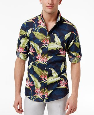 Tommy Hilfiger Men's Paradise Flower Linen Blend Shirt - Casual ...