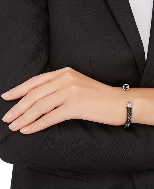 9283c0b5767a Swarovski Silver-Tone Black Crystal and Crystaldust Open Cuff Bracelet ...