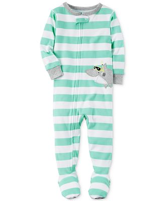Carter's 1-Pc. Striped Shark Footed Pajamas, Toddler Boys (2T-5T ...
