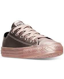 Converse Little Girls' Chuck Taylor Ox Metallic Leather Casual Sneakers from Finish Line