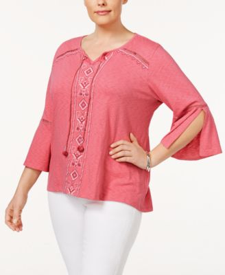 Style & Co Plus Size Embroidered Peasant Top, Only at Macy's