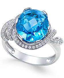 Swiss Blue Topaz (4-9/10 ct. t.w.) and White Topaz (1/3 ct. t.w.) Ring in Sterling Silver