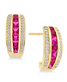 Sapphire (1-3/4 ct. t.w.) & Diamond (1/5 ct. t.w.) Earrings in 14k Gold (Also Emerald & Certified Ruby)