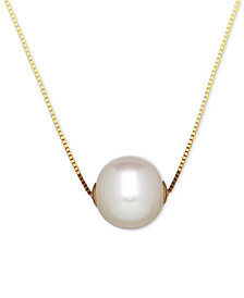 Honora Style Cultured Freshwater Pearl (8-1/2mm) Solitaire Pendant Necklace in 14k Gold