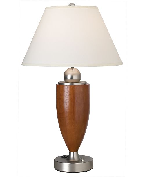 Kathy Ireland CLOSEOUT! Pacific Coast Wood Column with Metal Base Table Lamp