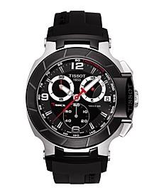Men's Swiss Chronograph T-Race Black Rubber Strap Watch 45.3mm T0484172705700