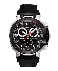 Tissot Men's Swiss Chronograph T-Race Black Rubber Strap Watch 45.3mm T0484172705700