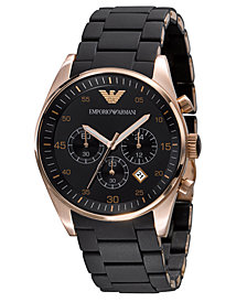Emporio Armani Men's Chronograph Black Silicone and Stainless Steel Bracelet Watch AR5905