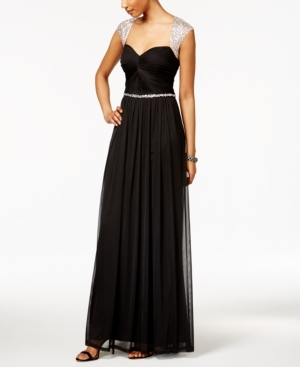 Vintage Evening Dresses and Formal Evening Gowns Adrianna Papell Embellished Open-Back Sweetheart Gown $209.00 AT vintagedancer.com