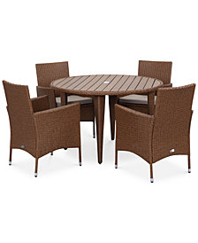 Deven Outdoor 5-Pc. Dining Set (Dining Table & 4 Chairs), Quick Ship
