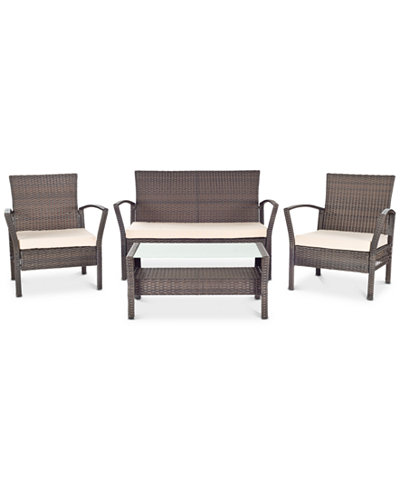 Calann Outdoor 4-Pc. Seating Set (1 Loveseat, 2 Chairs & 1 Coffee Table), Quick Ship